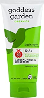 product image for Goddess Garden Organics SPF 30 Kids Natural Mineral Sunscreen Lotion for Sensitive Skin (6 oz. Tube) Reef Safe, Water Resistant, Vegan, Leaping Bunny Certified Cruelty-Free, Non-Nano
