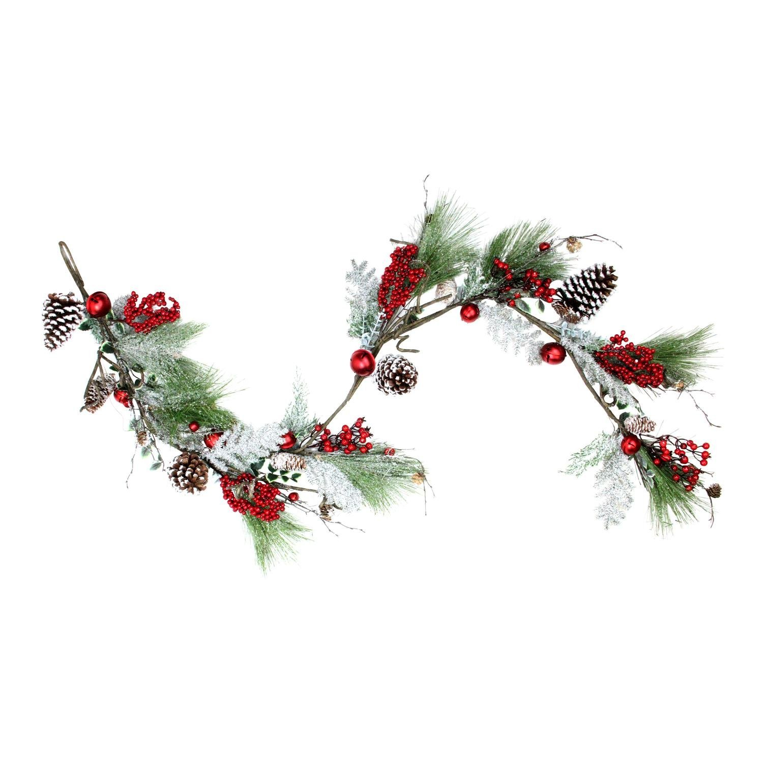 Northlight 68'' Bells, Berries and Pine Cones Frosted and Flocked Decorative Christmas Garland - Unlit