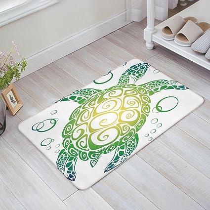 Stylish Indoor Doormat Welcome Mat Cartoon Sea Turtle Ocean Animal  Underwater Entrance Shoe Scrap Washable Apartment