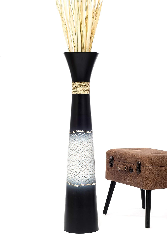Leewadee Grand Vase A Poser Au Sol pour Branches D/écoratives Design Vase Haut 75 cm Bois de Mangue Noir
