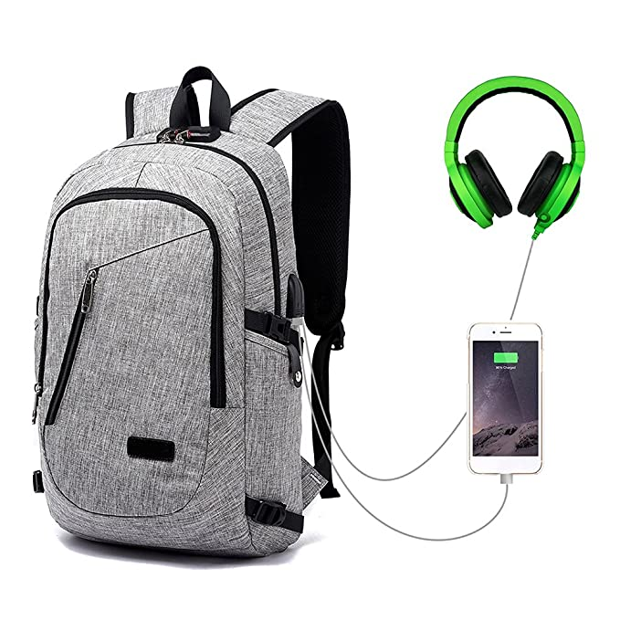 Amazon.com: iShine Anti Theft Laptop Backpack, Business Travel Slim Durable Laptops Backpck w/USB Charging Port & Headphone Interface, Water Resistant ...