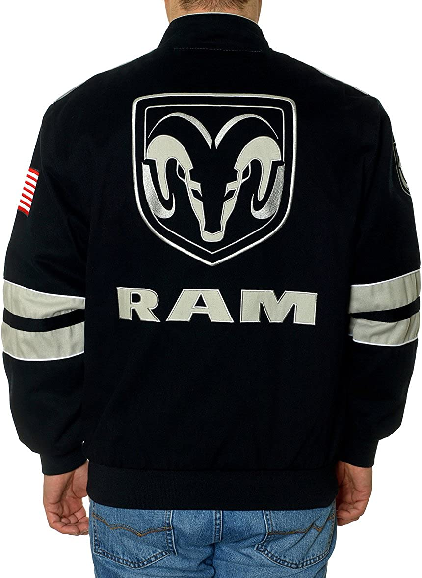 JH Design Mens Dodge Ram Truck Jacket an Embroidered Cotton Twill Coat