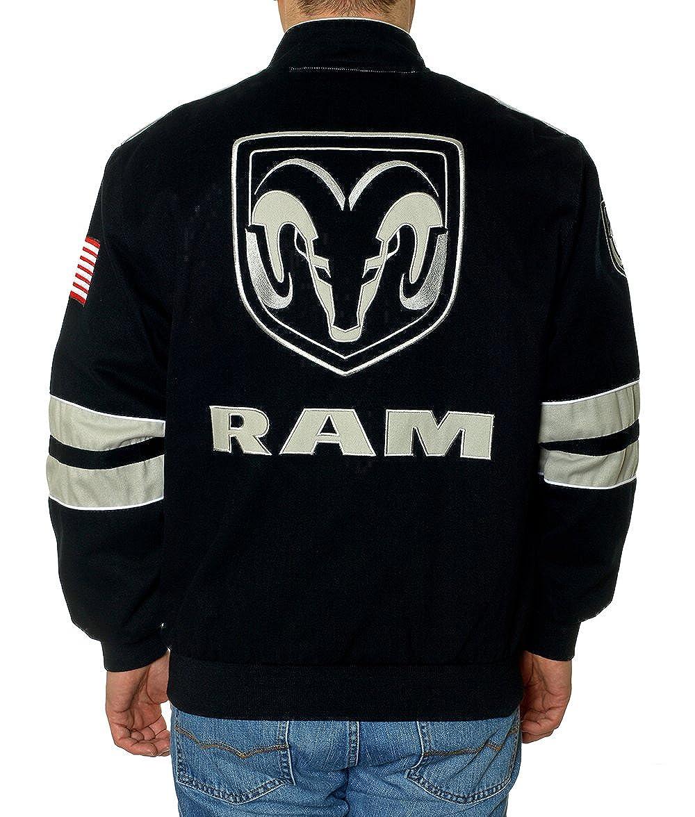 JH Design Mens Dodge Ram Truck Embroidered Jacket a Cotton Twill Jacket for Men