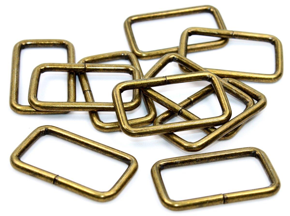 Vierkantring-Durchzug Stahl-altmessing 40mm 2//4//8//12 St/ück