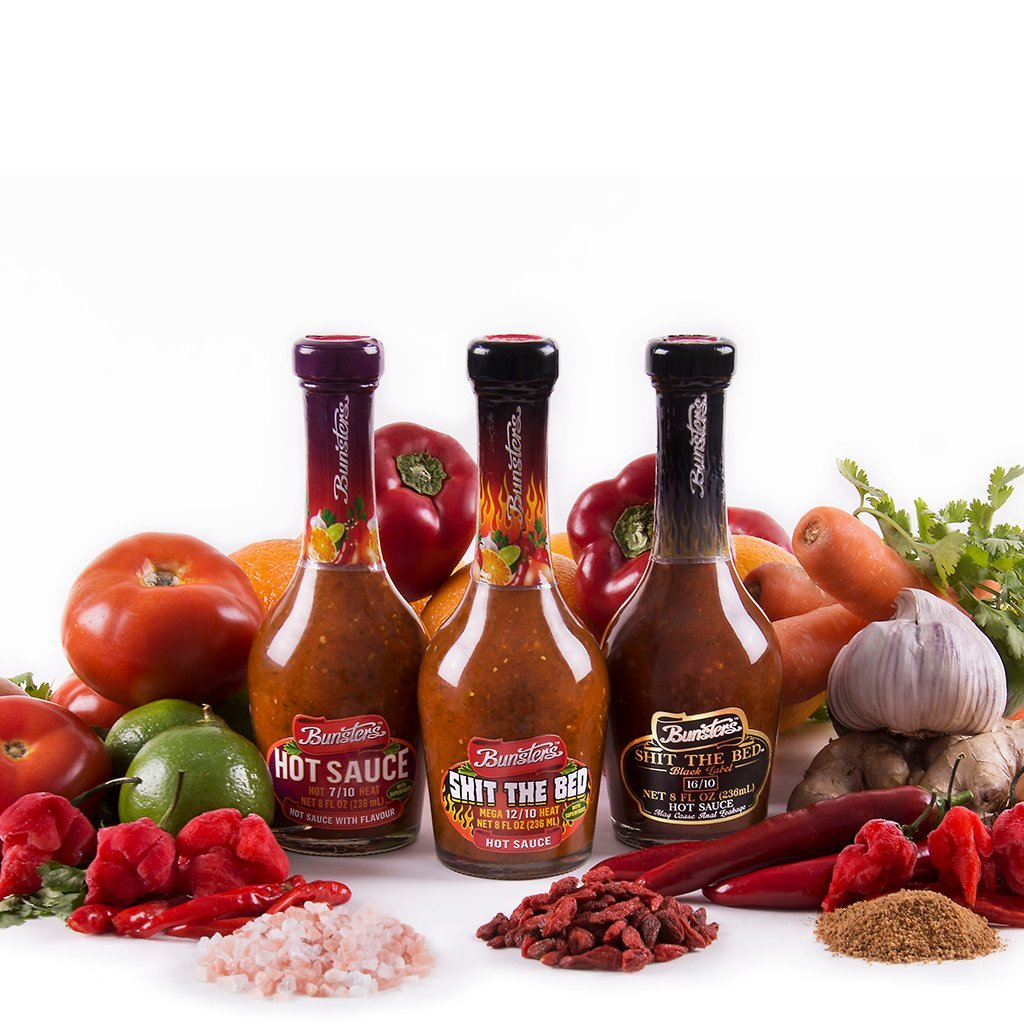 Bunsters Hot Chili Pepper Sauce - 3 Pack Set - Including Shit the Bed Hot Sauce, 8 fl oz by Bunsters (Image #2)