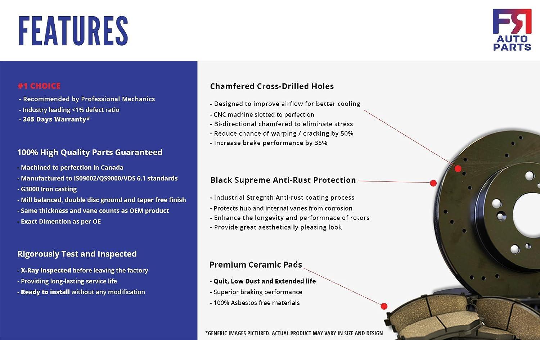4 Black Coated Cross-Drilled Disc Brake Rotors Fits:- xB 5lug Front+Rear Kit High-End 8 Ceramic Pads