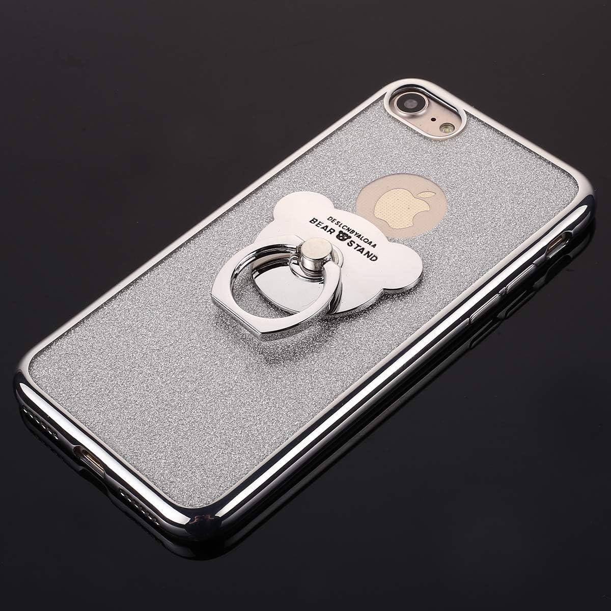 MoreChioce Compatible avec Coque iPhone 8 iPhone 7 /Étui Silicone Fantaisie Glitter Strass Bling Paillettes Noir Coque de Protection Souple Gel Housse avec Anneau Compatible avec iPhone 7//8