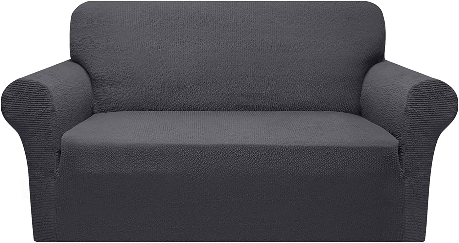 Granbest Sofa Slipcover 1-Piece Striped Sofa Cover for 2 Cushion Couch Thick Luxury Couch Cover for Living Room Soft Furniture Protector Dog Cat Pet Friendly(Medium, Gray)