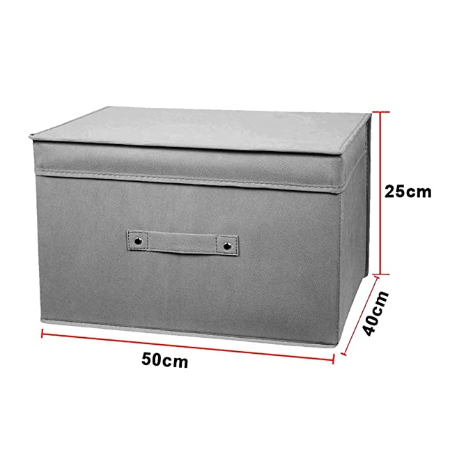 Dabuty Online, S.L. Caja Organizador de Ropa, Toallas, sabanas, Zapatos etc... Inlcuye asa y con Tapa, Color Gris Resistente. Tamaño 50x40x25cm: Amazon.es: ...