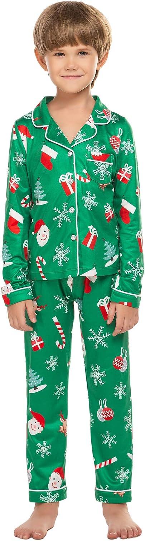 Ekouaer Christmas Family Matching Pajamas Long Sleeve Pj Set Warm Fleece Lined Festival Party Sleepwear with Button