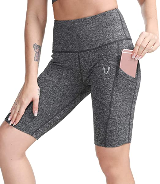 e80b039f269813 FIRM ABS Women's High Waist Yoga Shorts Compression Workout Shorts with  Pocket Gray M