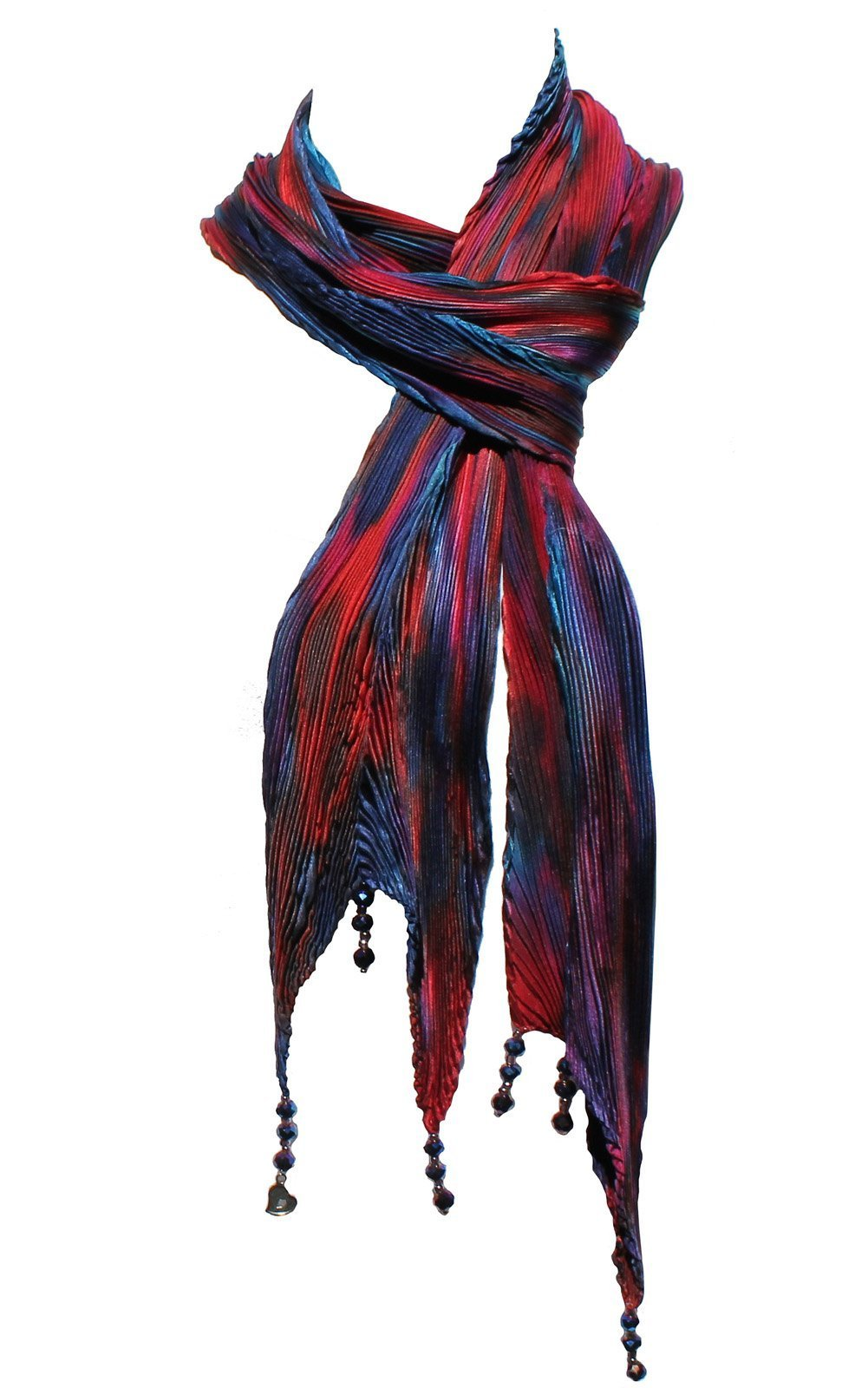 Arashi Shibori Silk Scarf in Reds, Blue and Purple