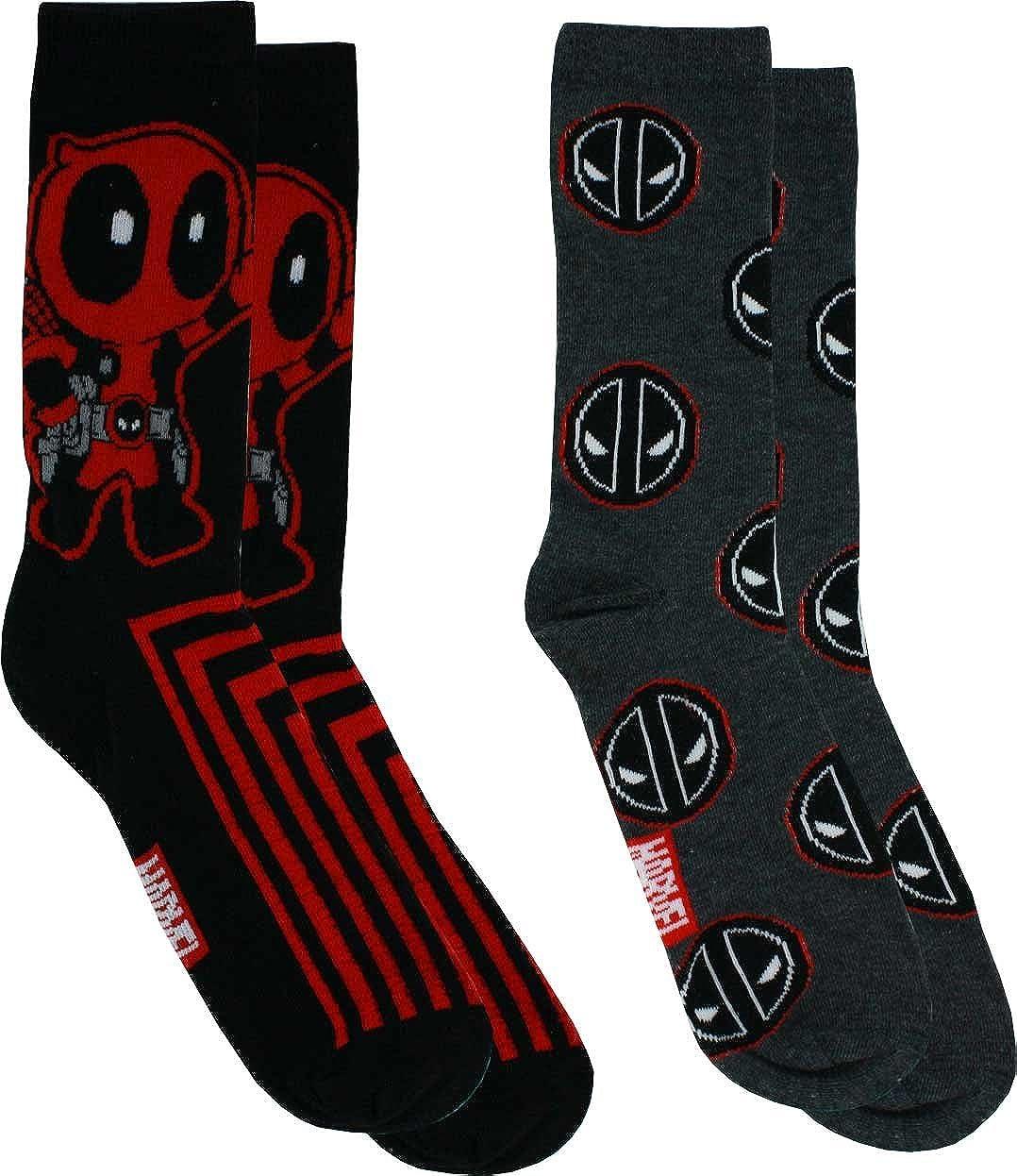 Marvel Comics Deadpool Stripe Casual Crew Socks, 2-Pack, 6-12 Hyp