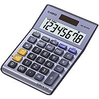 CASIO MS-88TER II Tischrechner kompakt mit Metallfront blau, 8-stelliges Display, Steuer-Berechnung, Euro-Umrechnung