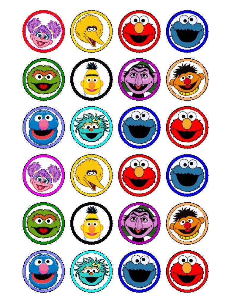 24x Barrio Sésamo (cabezas) comestible cupcake caketoppers