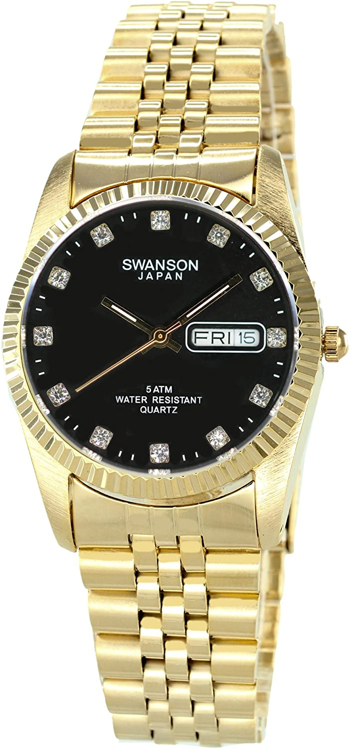 Swanson Men s Gold Day-Date Watch Stone Black Dial