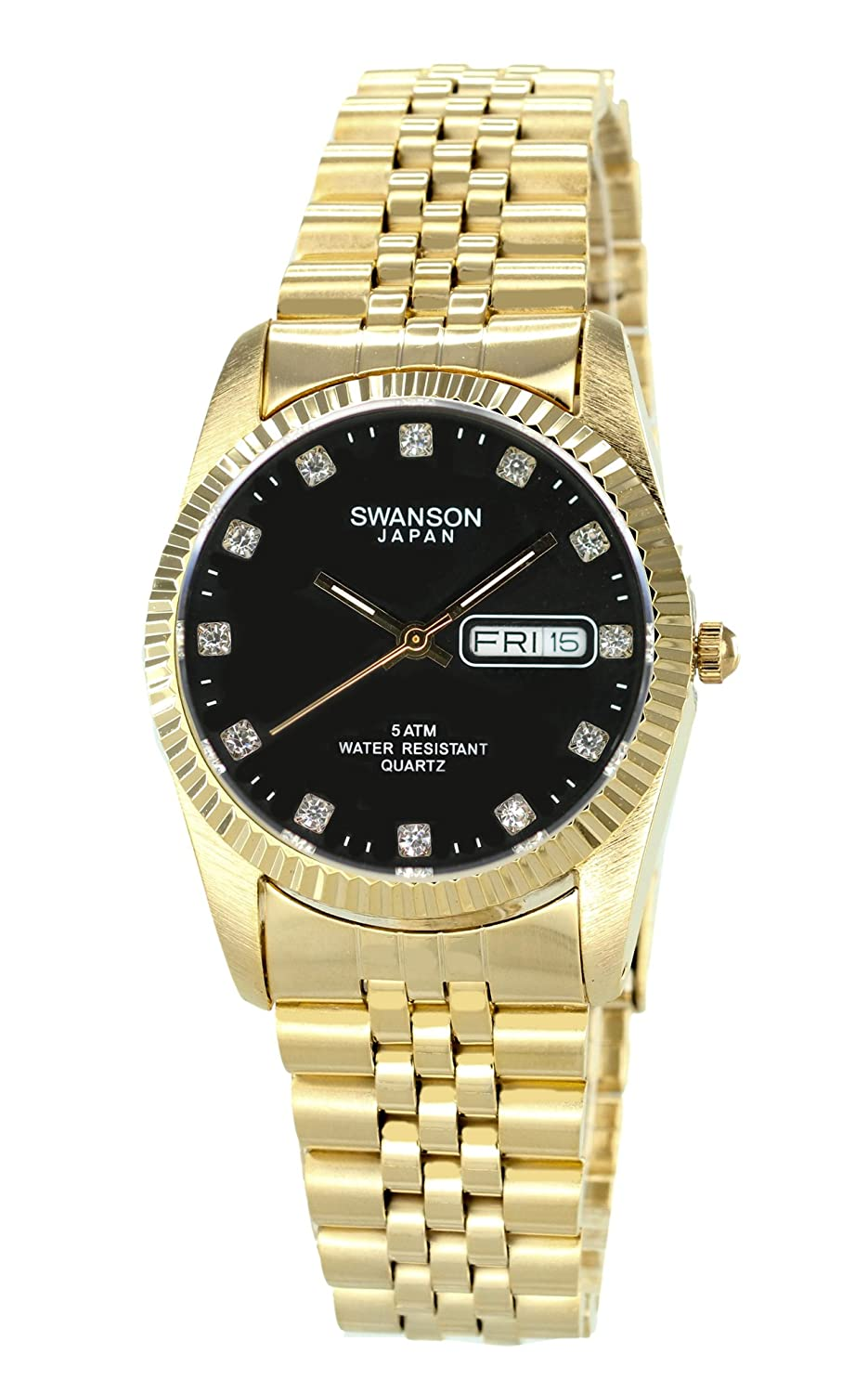 Amazon.com: Swanson Men's Gold Day-Date Watch Stone Black Dial with Travel  Case: Swanson Japan: Watches