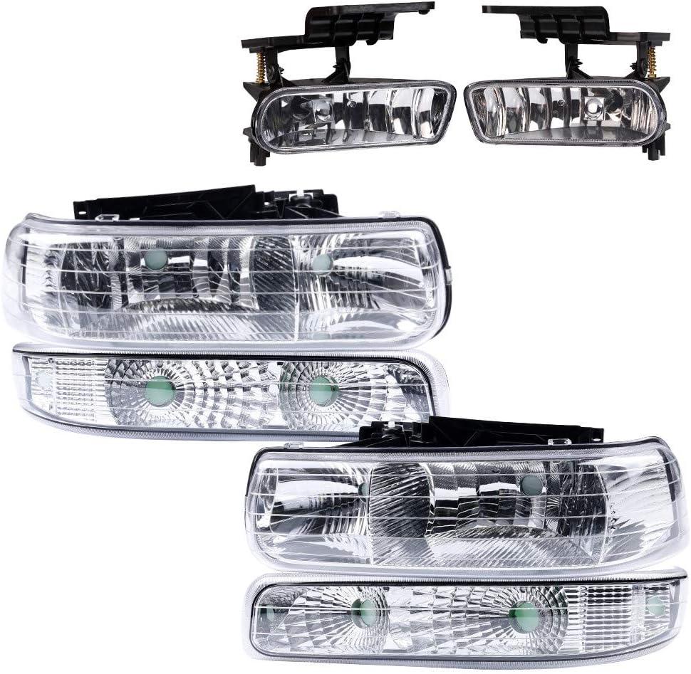 4Pcs Headlight 2Pcs Bumper Driving Fog Lights Chrome Housing ...