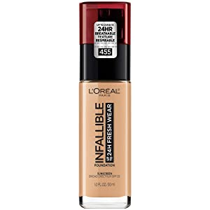 L'Oréal Paris Makeup Infallible up to 24HR Fresh Wear Liquid Longwear Foundation, Lightweight, Breathable, Matte Finish, Medium-Full Coverage, Sweat & Transfer Resistant, Natural Buff, 1 fl. oz.