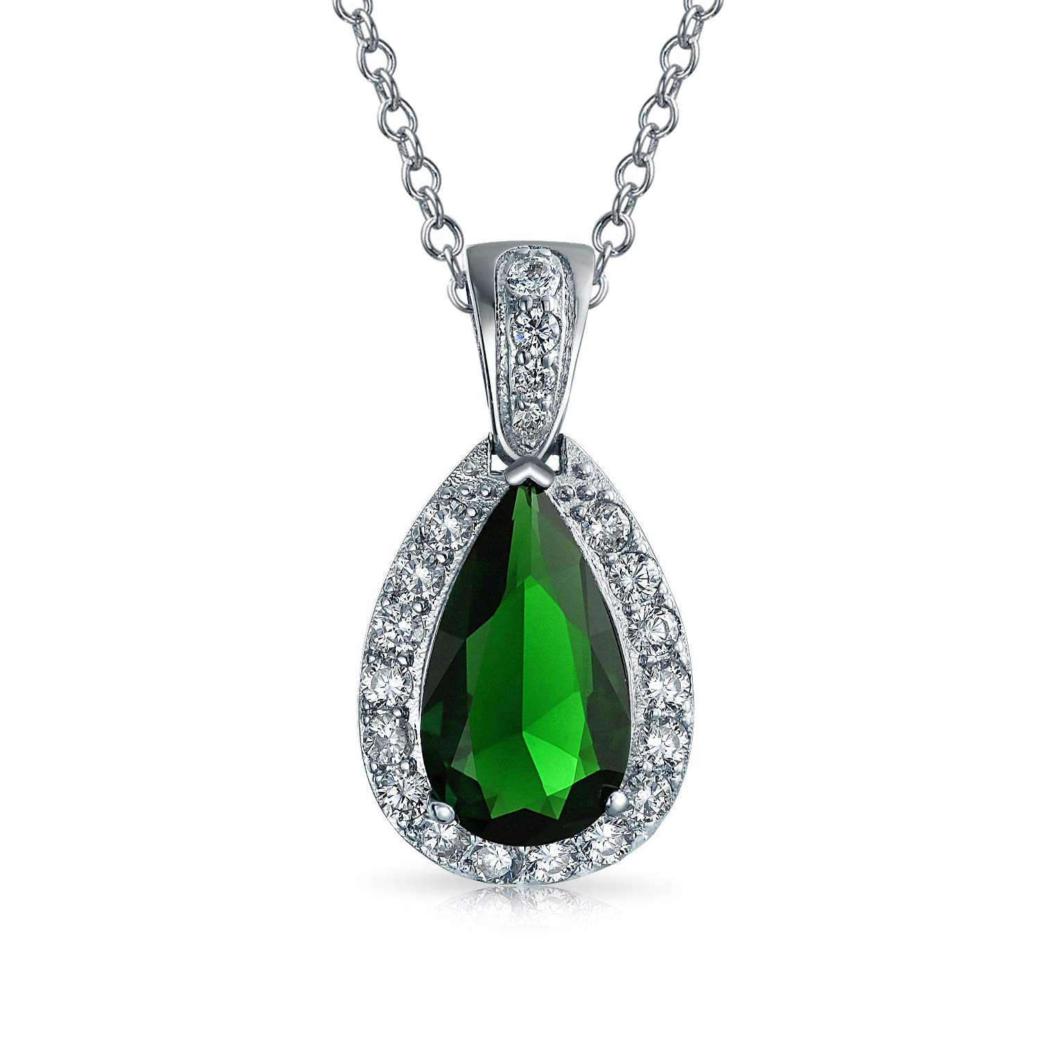 Green Pear Shaped Tear Drop Pendant Necklace for Women Pace CZ Halo Simulated Emerald Rhodium Plated Brass 18 Inch Chain
