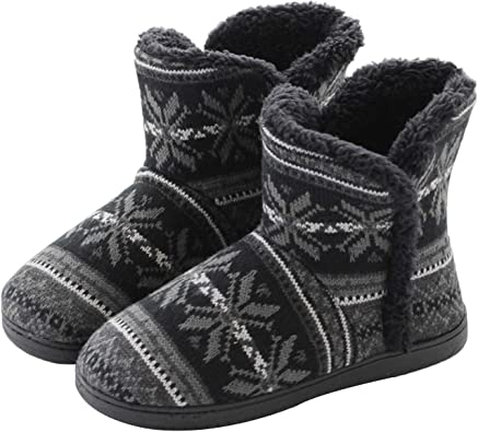 Womens Winter Warm Booties Slippers Plush Fleece Boots House Shoes Non-Slip Mules Footwear