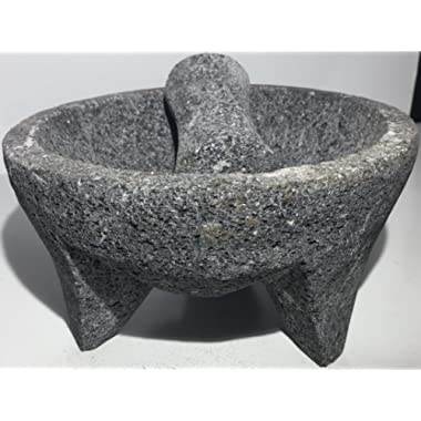 Made in Mexico Genuine Mexican Manual Guacamole Salsa Maker Volcanic Lava Rock Stone Molcajete/Tejolote Mortar and Pestle Herbs Spices Grains 8  Large