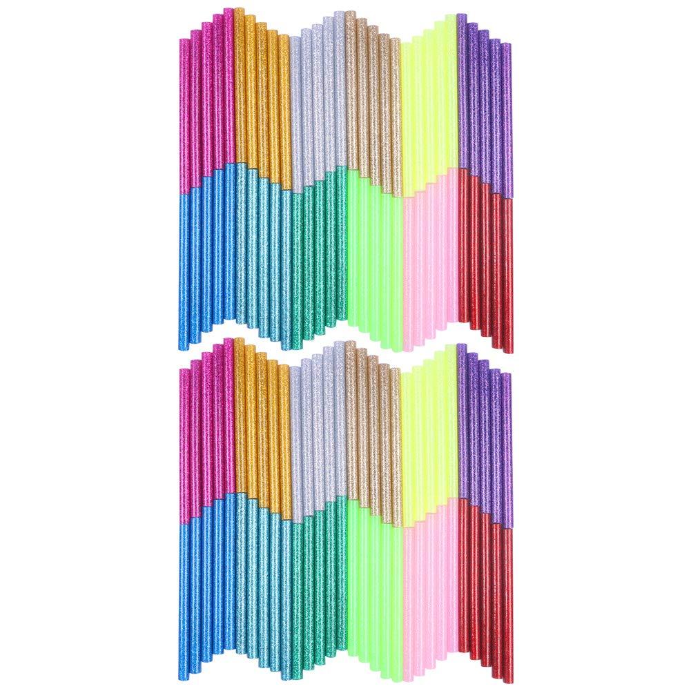 Petift 12 Color 120Pcs Glitter Hot Glue Gun Sticks Hot Melt Glue Sticks Mini Colored Glue Sticks for DIY Art Craft Multi Color(7 mm by 10 cm)