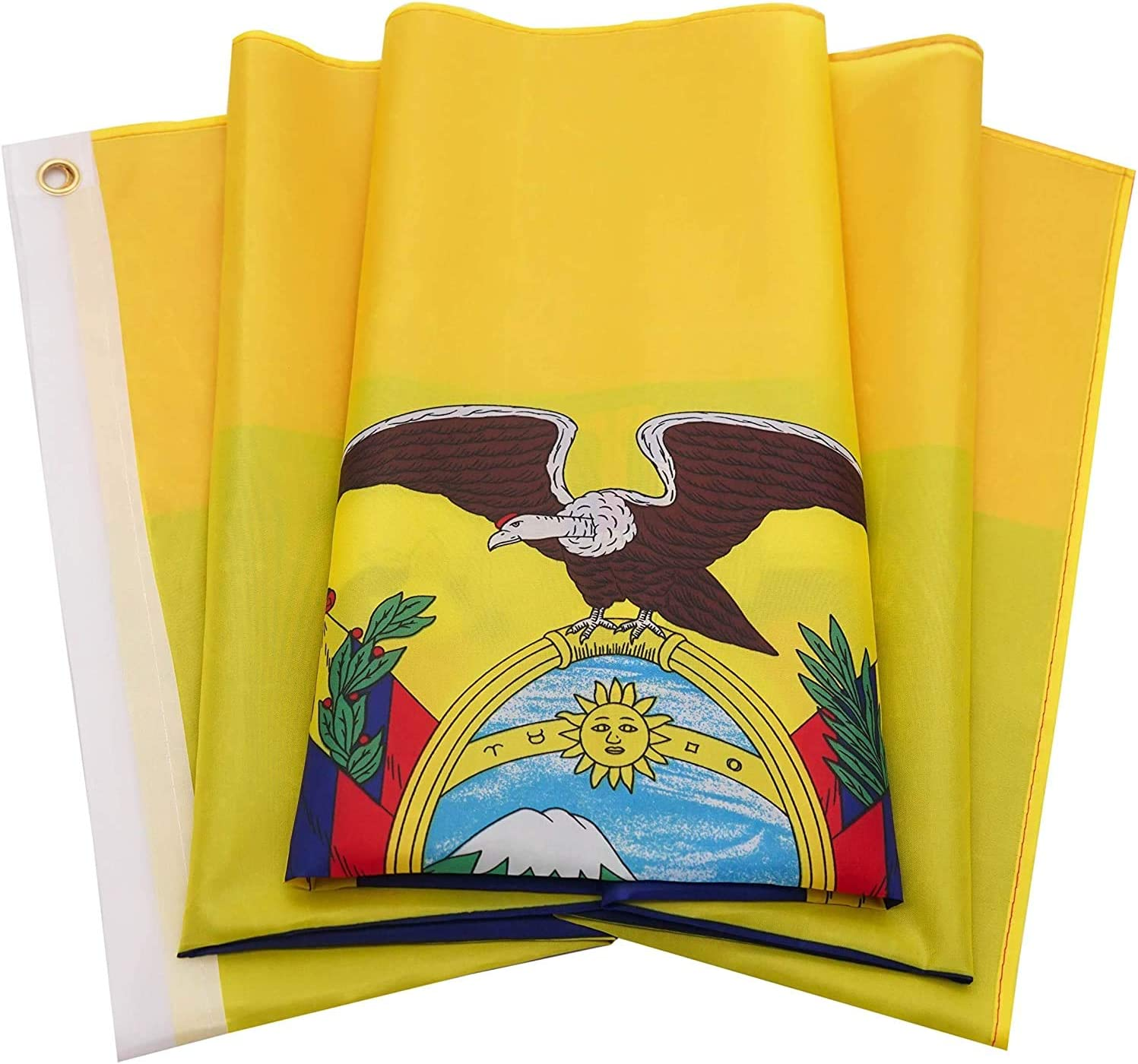 Ericraft Bandera ecuatoriana Grande 90x150cms Bandera de Ecuador de balcón para Exterior Reforzada y con 2 Ojales metálicos, Bandera Ecuador Tela: Amazon.es: Jardín