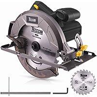 Scie circulaire, TECCPO 1200 W Scie circulaire électrique, 5800 tr/min, Avec lame de 185 mm, 24 dents, Profondeur de coupe 63 mm (90 °), 45 mm (45 °), TACS22P