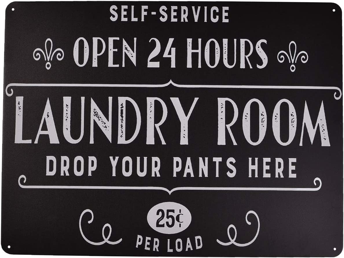 MUPIANLX Open 24 Hours Laundry Room Vintage Room Decor Metal Sign Home Bathroom Laundry Room Wall Decor Wash Room Signs 12X16Inch