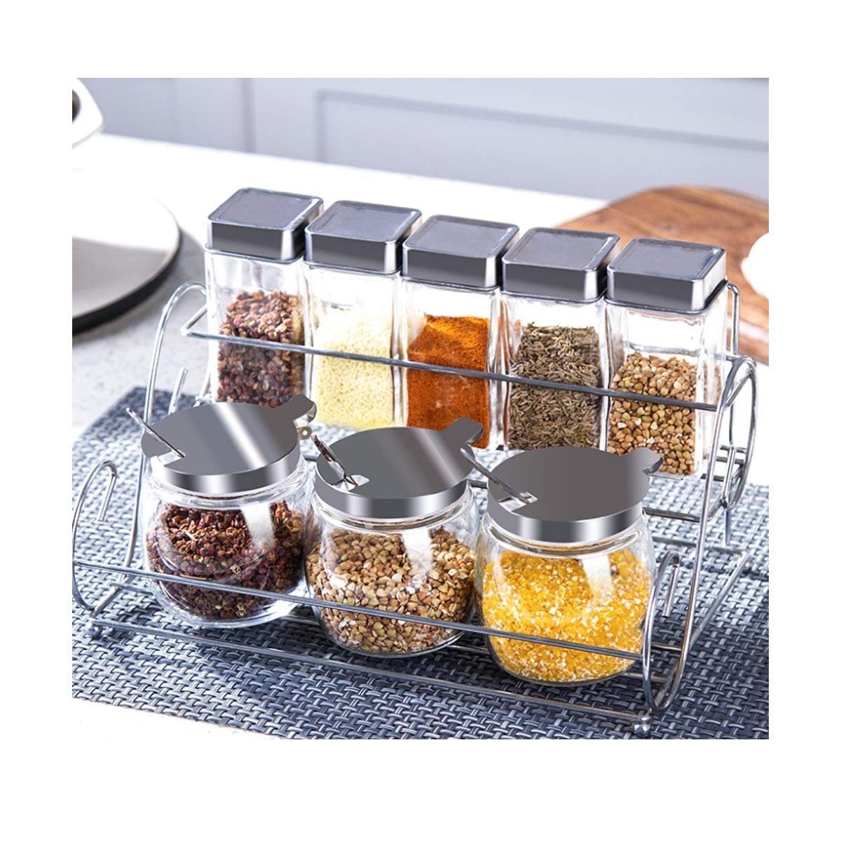 MINGRUIGONGMAO Kitchen Glass Seasoning Box, Set Household Combination, Salt Shaker, Seasoning Jar, Seasoning Storage Box, Seasoning Bottle Plush toys (Size : A) by MINGRUIGONGMAO