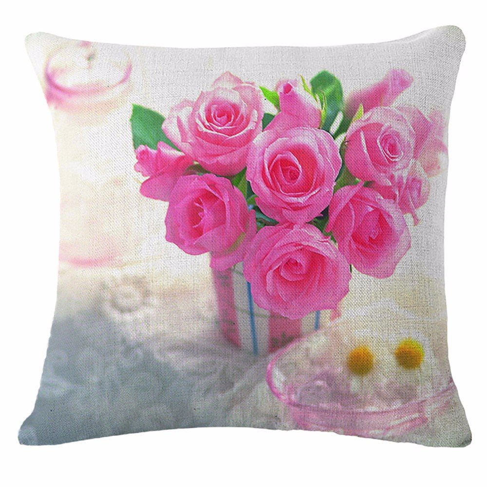 Amazon Pillow Set Pink Rose Flower Pillow Case Cushion Home
