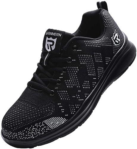 Zapatos de Seguridad Hombre Mujer, Punta de Acero Zapatos Ligero Zapatos de Trabajo Respirable Construcción Zapatos Reflexivo Botas de Seguridad ...