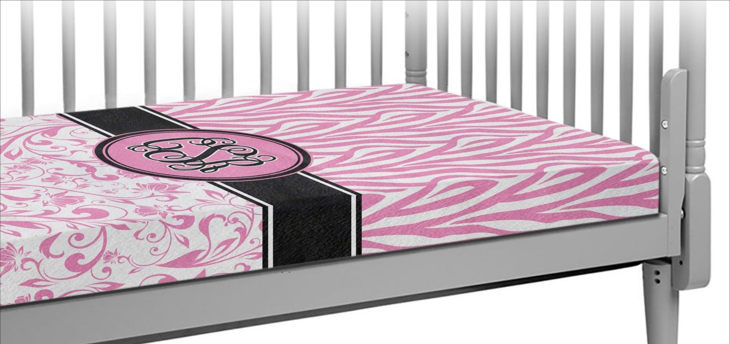 Zebra & Floral Crib Fitted Sheet (Personalized)