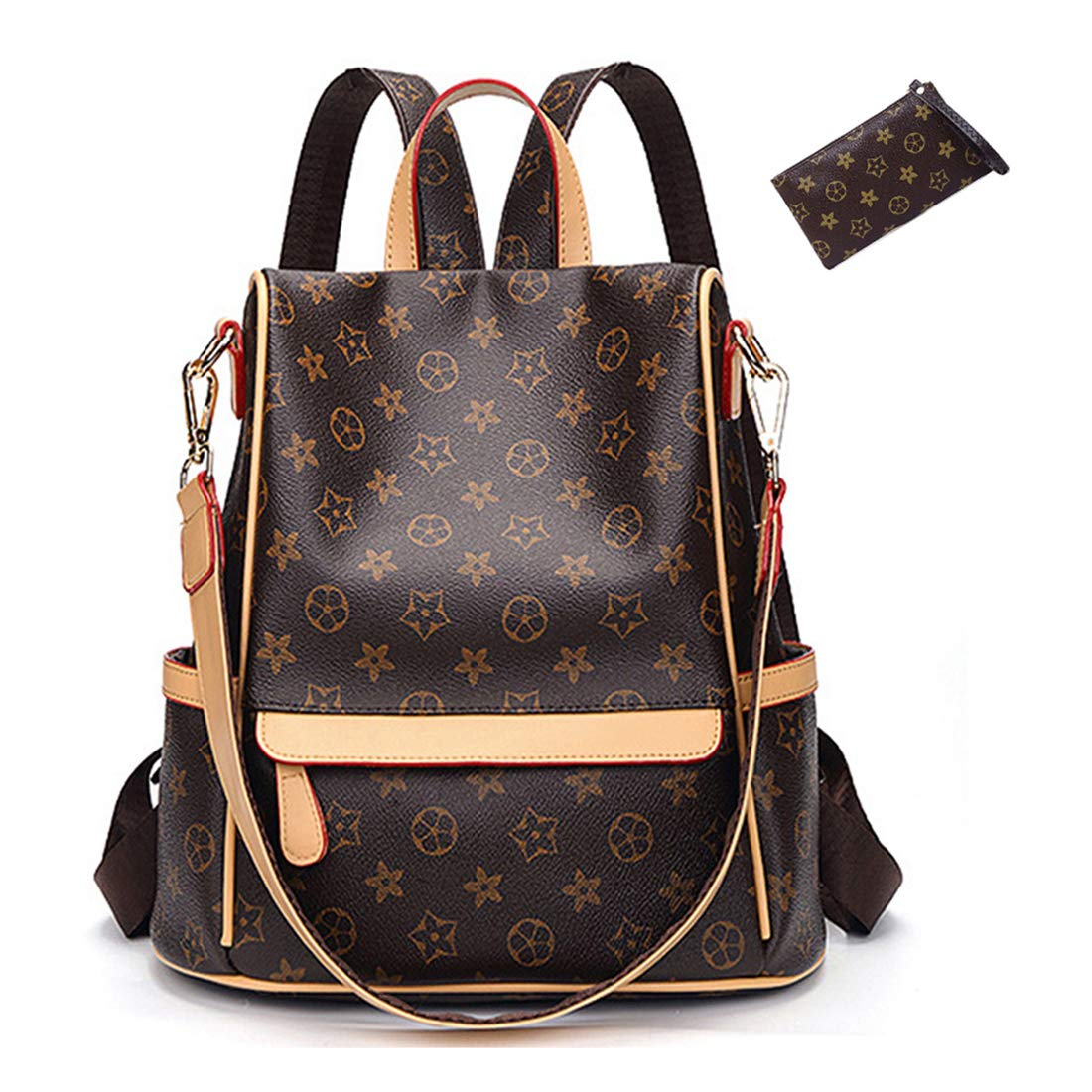 9668aa1d2e8 Casual Purse Fashion School Leather Backpack Crossbady Shoulder Bag Mini  Backpack for Women & Teenage Girls BLACK BROWN