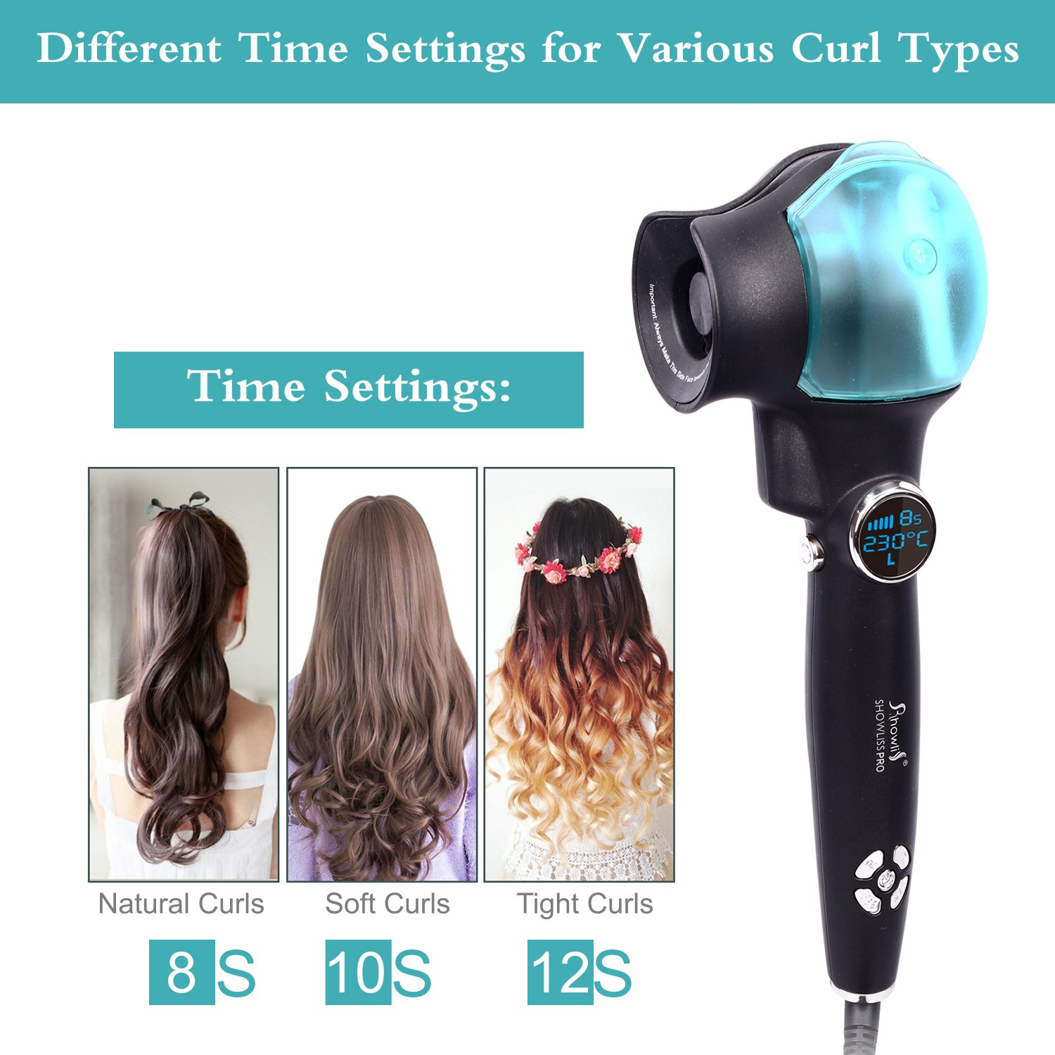 Amazon.com: Hair Curler, Curling Iron, Professional Automatic Spray Curl Machine, LED Display hair curler: Beauty