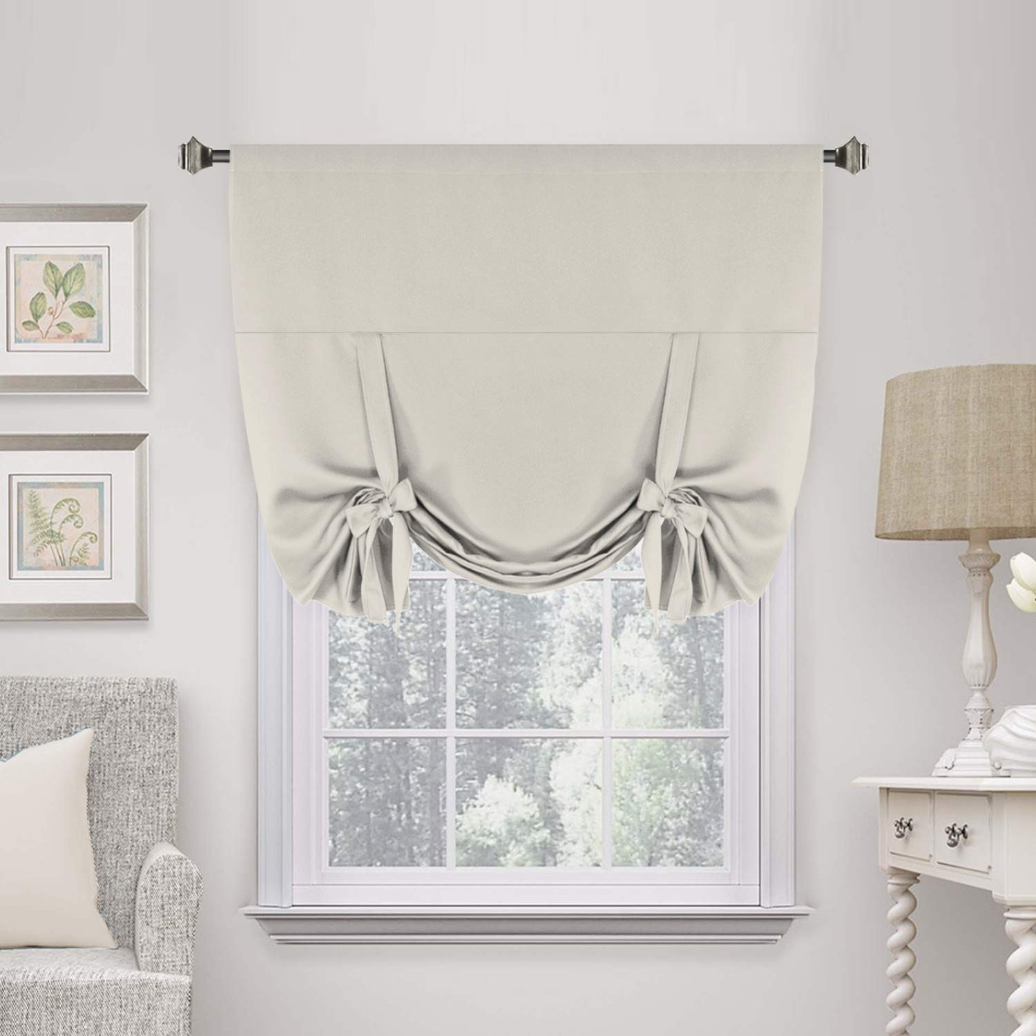 "H.VERSAILTEX Thermal Insulated Blackout Curtain Tie Up Window Shade (Rod Pocket Panel) - 42"" Wide by 63"" Long - Cream"