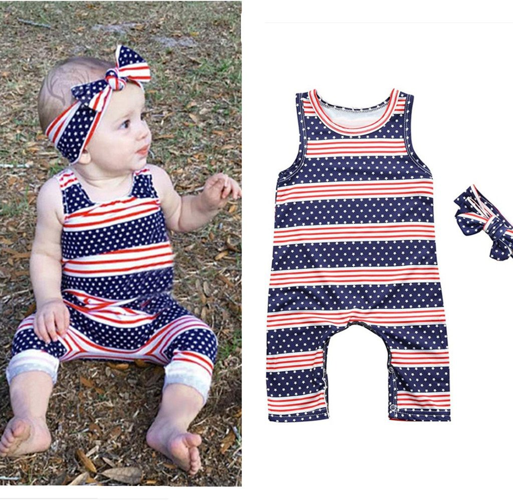 fc024e7c5a8d Amazon.com  4th Of July Romper +Headband Outfits Set - Franterd Baby Girls  Stars Striped Rompers for Toddler Kids Overalls Sleeveless Jumpsuits Pants   Arts