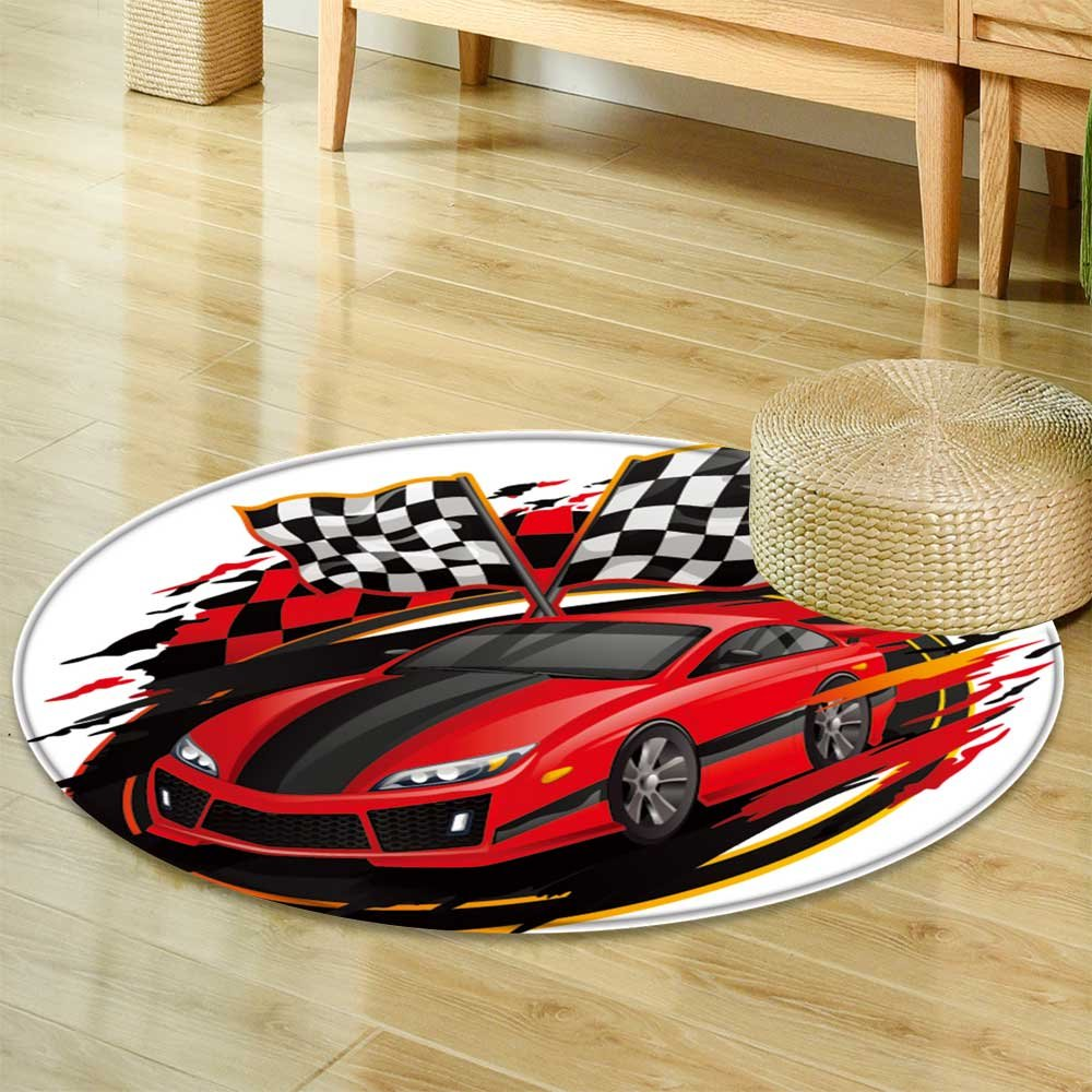 Dining Room Home Bedroom Carpet Floor Matspeeding racing car with checkered flag racetrack design  Non Slip rug-Round 31'' by PRUNUSHOME