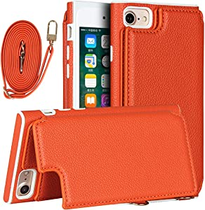 iCoverCase for iPhone SE (2nd) 2020/6/6s/7/8 Wallet Case with Lanyard, Magnetic Clasp Shockproof Bracket Leather Case with Card Slot and Hidden Mirror for iPhone 6/6s/7/8/SE (2020) (Orange)