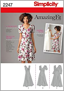 Simplicity Amazing Fit Pattern 2247 Womens Dress with Individual Pattern Pieces Sizes 20W-28W