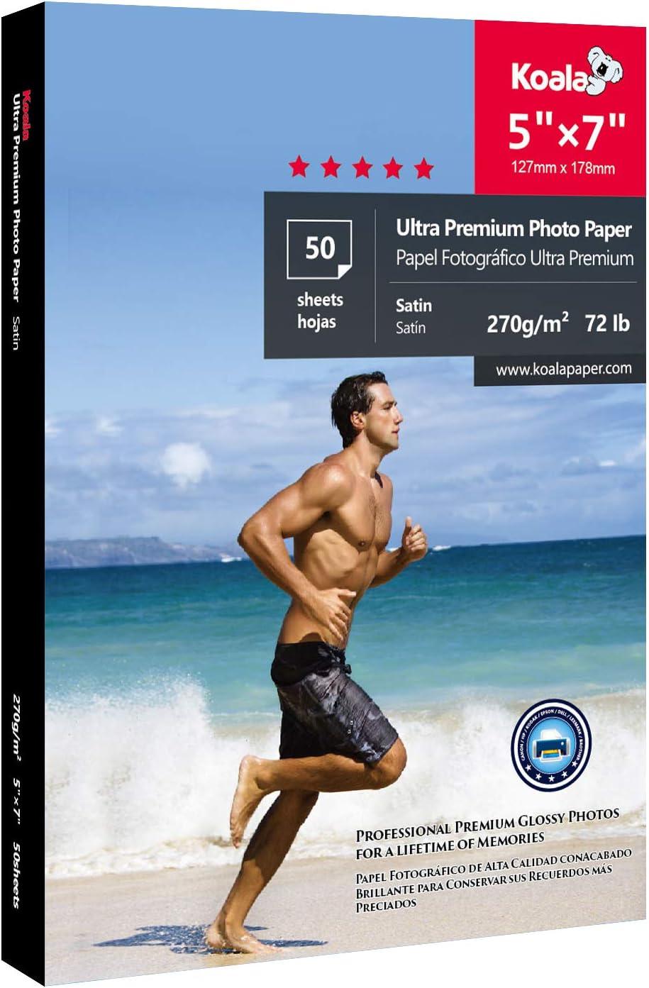 Koala Ultra Premium Photo Paper Satin 5x7 Inch Heavyweight 72lb for Inkjet Printer 50 Sheets