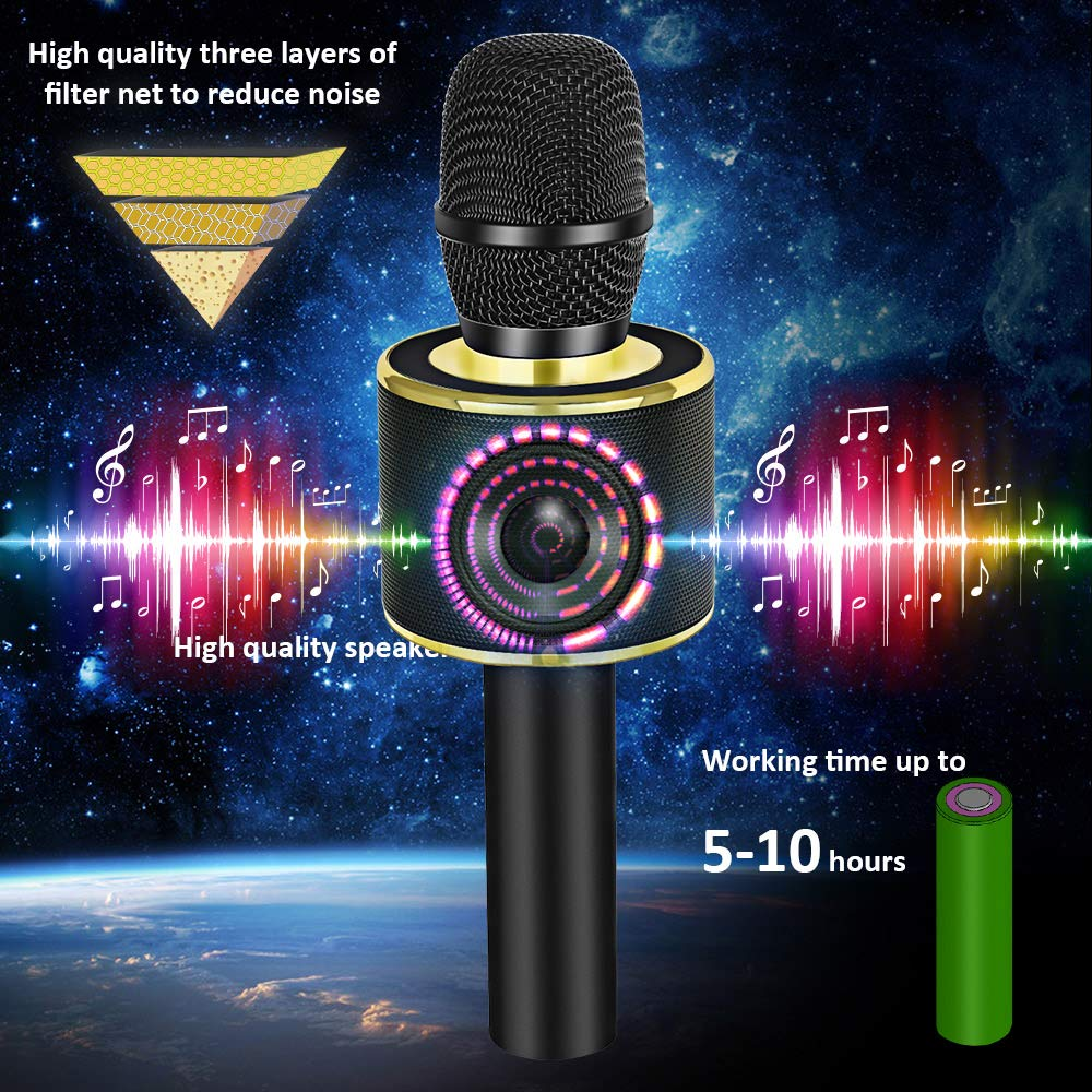 BONAOK Wireless Bluetooth Karaoke Microphone,3-in-1 Portable Handheld karaoke Mic Speaker Machine Home Party Birthday Gift for iPhone/Android/iPad/Sony/PC/All Smartphone (Black&Gold) by BONAOK (Image #4)