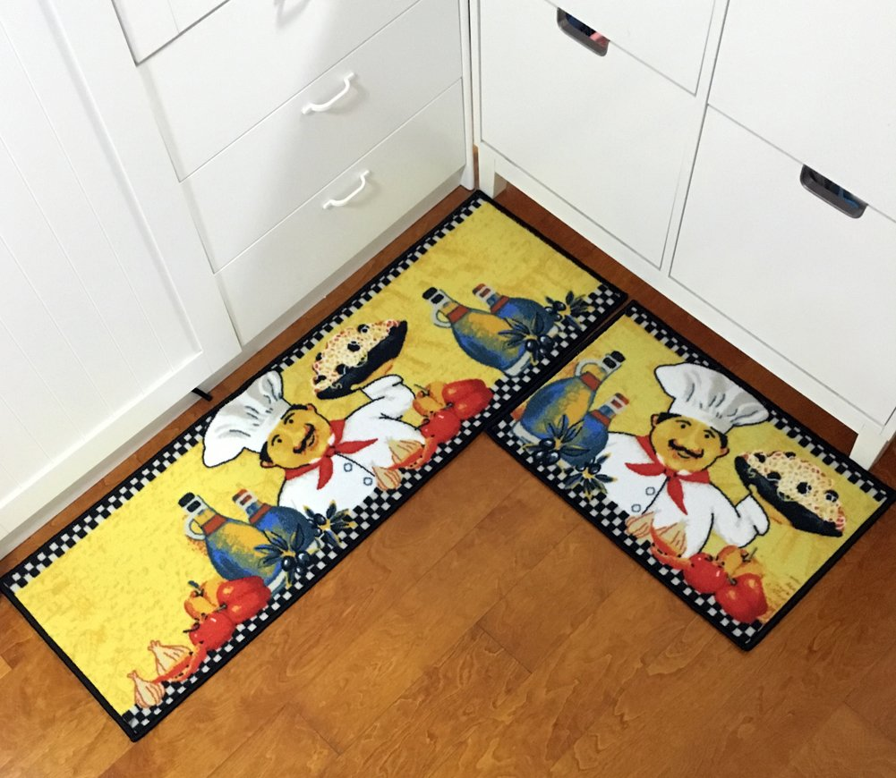EUCH 2 Piece Kitchen Mat Non-slip Rubber Backing Carpet Doormat Runner Bathroom Rug Set,15''x47''+15''x23'' (Ramen chef)