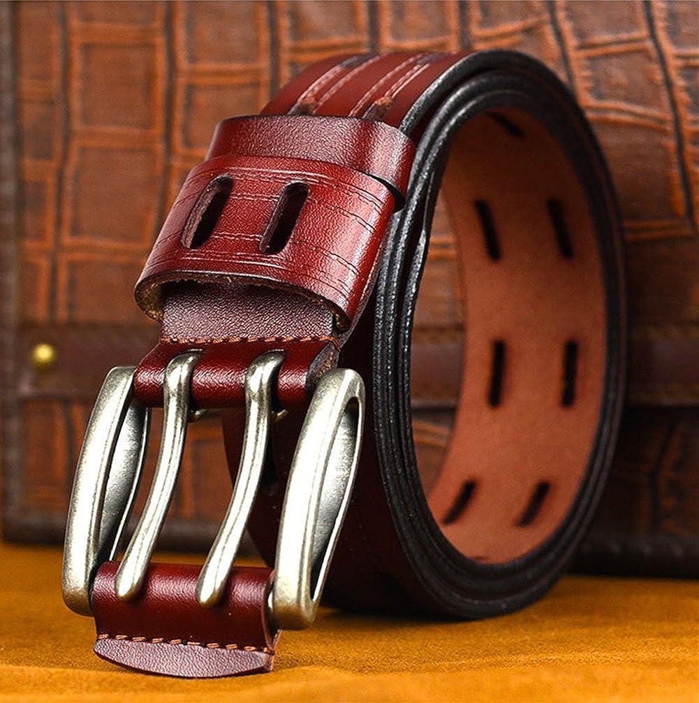 Double Hole Belt Genuine Leather 1.5Inch Wide Western Designer Mens Dress Belts For Jeans Plus Size