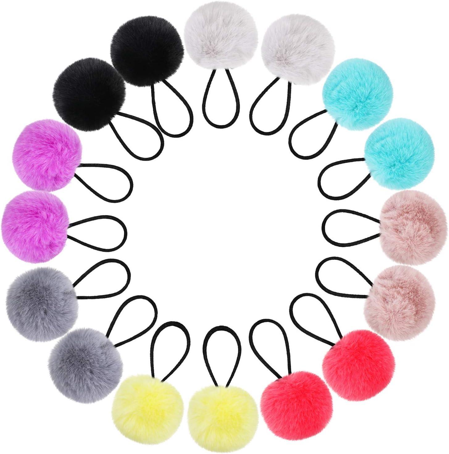 Pom Corbatas de Cabello Banda de Pelo Elástico con Pompones Bolas de Cola de Caballo Esponjosas de Piel para Accesorios de Pelo de Mujer Niña Niños(Kit de Color 2, 16 Piezas)