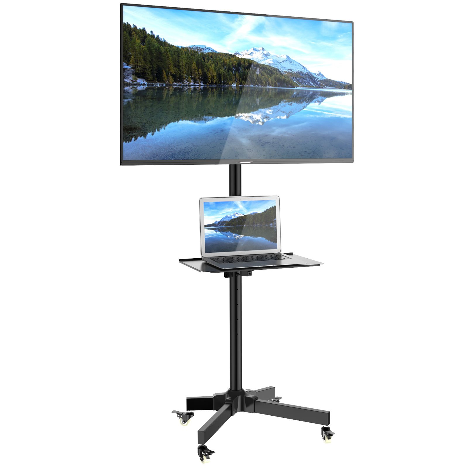 1homefurnit Mobile TV Cart Floor Stand Mount Home Display Trolley for 23''-55'' Plasma/LCD/LED with Locking Wheels