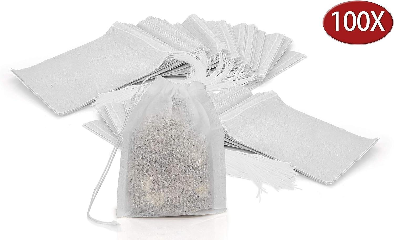 Granny's Kitchen 100 Bolsas de Te Vacías y Desechables - Bolsitas de Papel Desechables Estériles con Hilo - Filtros para Té y Infusión de Hierbas - Blanco