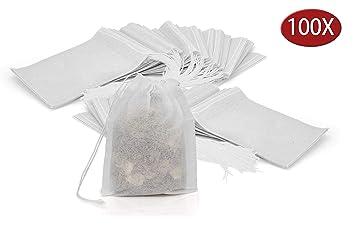 Grannys Kitchen 100 Bolsas Vacías de Te Desechables - Bolsitas de Papel Desechables Estériles con Hilo - Filtros para Té y Infusión de Hierbas - ...