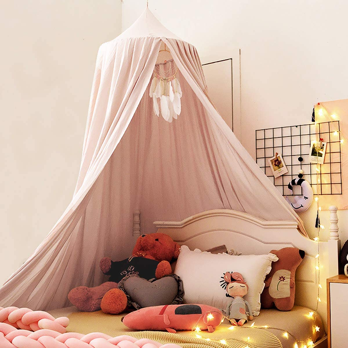 Kertnic Decor Canopy for Kids Bed, Soft Smooth Playing Tent Canopy Girls Room Decoration Princess Castle, Dreamy Mosquito Net Bedding, Children Reading Nook Canopies in Home (Pink)